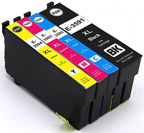 4 X Druckerpatronen mit Chip kompatibel für Epson 35XL 35 XL T3591 T3592 T3593 T3594 XL für Epson WorkForce Pro WF-4720DWF, WF-4725DWF, WF-4730DTWF, WF-4730DWF, WF-4740DTWF, WF-4740DWF Drucker 4 Stück (1 BK 1C 1Y 1M)