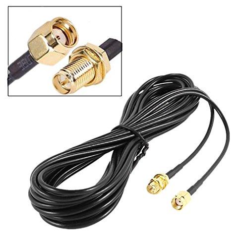 Rp-sma Stecker Antenne (RP-SMA Stecker auf RP-SMA Buchse WiFi Antenne Anschluss Verlängerung Kabel, Low Loss RG174FPV Antenne Kabel, 10Mio. Länge, Schwarz, von ltsstoreuk)