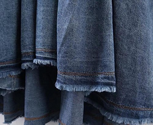 SHISHANG Frauen-Cowboy-Kleid europäische Art-Pullunder-Stil Denim-Kleid mit V-Ausschnitt Baumwolle Sommer Light Blue Light Blue