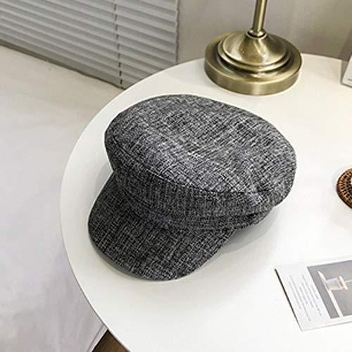 mlpnko Hut weibliche Baskenmütze Marine Hut Mode wild lässig achteckigen Hut Retro Maler Hut grau (58-60cm)