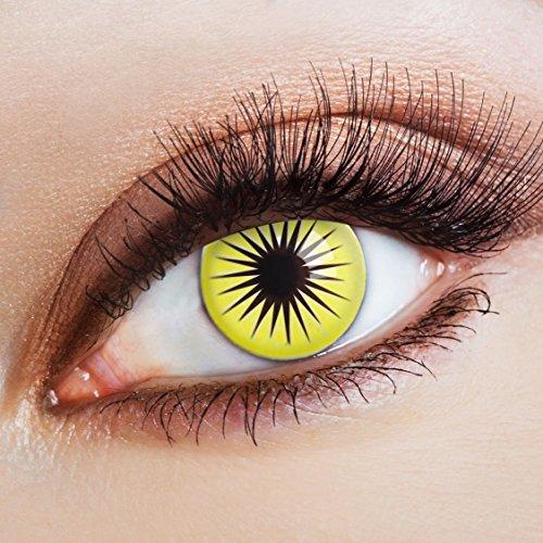 aricona Farblinsen Manga & Anime Kontaktlinse Yellow Star   – Deckende, farbige Jahreslinsen für dunkle und helle Augenfarben ohne Stärke, Farblinsen für Cosplay, Karneval, Fasching, Halloween Kostüme
