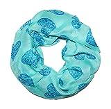 MANUMAR Loop-Schal für Damen | Hals-Tuch in türkis mit Herz Motiv als perfektes Herbst Winter Accessoire | Schlauchschal | Damen-Schal | Rundschal | Geschenkidee für Frauen und Mädchen