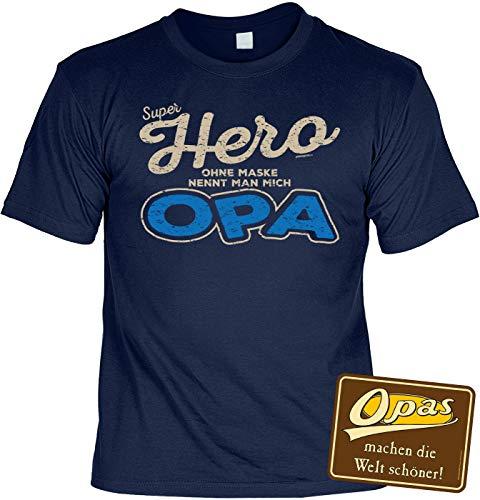 Schild Opa Tshirt - Geschenk-Set : Sprüche T-Shirt Großvater + Sprüche Blechschild : Super Hero ohne Maske nennt Man Mich Opa & Opas - Deko Sprüche-Schild Opa Gr: XXL - Opi-maske