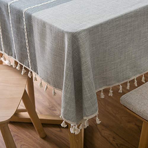 Furnily Rechteck Dekoration Tischdecke 140 cm x 200cm Baumwolle Leinen elegante Tischdecke mit Quaste Edge Staubdichte waschbare Küchentischabdeckung für Speisetisch (grau)