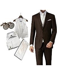 8 tlg Set Hochzeitsanzug Schurwolle Mix braun elfenbein ivory Weste Plastron Hemd etc slim fit