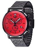DETOMASO MILANO Herren-Armbanduhr Chronograph Analog Quarz schwarzes Edelstahl Milanaise-Armband rotes Zifferblatt DT1052-N