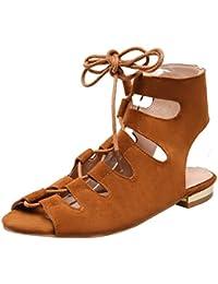 UH Damen Gladiator Sandalen Flach Slingback Sandaletten mit Schnürung  Komfort Bandagen Schuhe 8e1cfc5265