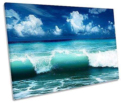 Blue Ocean Wave Beach Single Leinwand Kunstdruck Bild, blau, 135cm wide x 90cm high