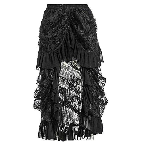 COSWE Damen Schwarz Spitze Punkrock Steampunk Rock Irregulär Kleid Cosplay Kostüm (L:76-84cm/29.92