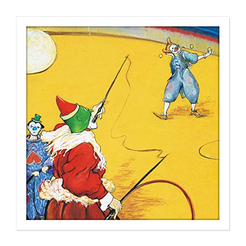 Anquetin Circus Clowns Painting Square Wooden Framed Wall Art Print Picture 16X16 Inch Zirkus Malerei Holz Wand Bild -