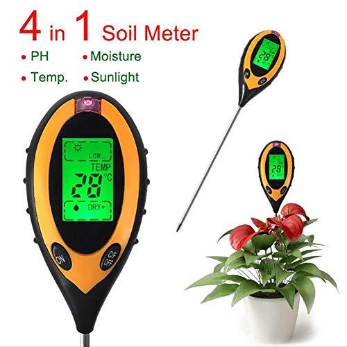 ZDYLM-Y Bodentester PH Wert 4 in 1 Elektronische Digitalanzeige Bodendetektor Thermometer Hygrometer Belichtungsmesser