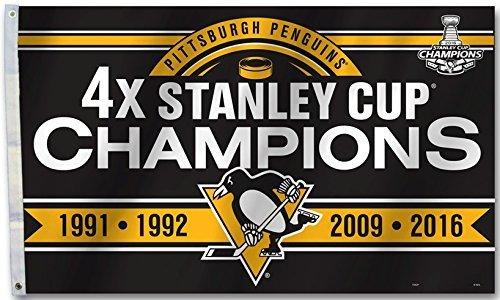 Fremont Die Pittsburgh Penguins 4X Stanley Cup Champions 3 x 5 Banner Flag 12036 - Pittsburgh Penguins-flag