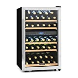 Klarstein Vinamour 40D Cantinetta Vino Frigorifero (58 x 88 x 57 cm, 2 Zone Refrigeranti, 135 Litri, 41 Bottiglie, display, Acciaio inox)