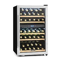 Klarstein Vinamour 40D - Weinkühlschrank, Getränkekühlschrank, Gastro-Kühlschrank, 2 Zonen, 41 Flaschen, Türanschlag rechts, freistehend, sehr leise, Touch, schwarz-silber