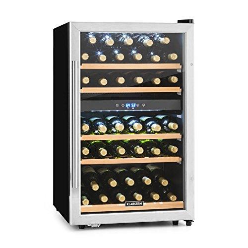 Klarstein Vinamour 40D • Weinkühlschrank • Getränkekühlschrank • Gastro-Kühlschrank • 2 Zonen • 41 Flaschen • Türanschlag rechts • freistehend • sehr leise • Touch • schwarz-silber