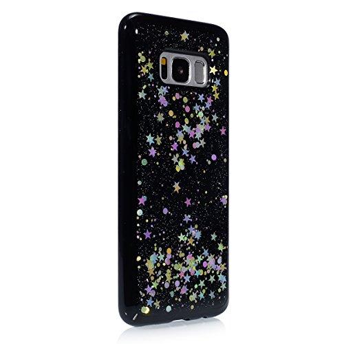 Custodia Cover per Samsung Galaxy S8,KunyFond Lusso Moda Brillantini Glitter Bling Placcatura Custodia Ultra Slim Soft Tpu Silicone Case Cover Scintillare Luccichio Cristallo Morbida Gel Protettiva Cu nero&stella