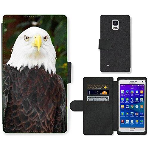 hello-mobile PU LEDER LEATHER FLIP CASE COVER HÜLLE ETUI TASCHE SCHALE // M00136788 Vogel Weißkopfseeadler Adlerfeder // Samsung Galaxy Note 4 IV