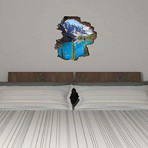 Dalinda® 3D Wandsticker 3D-Optik Moraine Lake Kanada Wanddeko 3D Wandtattoo 3D Wandbilder Wandgestaltung DS952 (35x36cm)