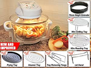 New and Improved Wolf 1300 Watt 12Ltr Halogen Oven Complete with 70mm Height Extender, Wire Grilling Tray, Wire Roasting Tray, Frying Pan, Steamer Tray, Lid Stand,Tongs and Detachable power lead plug from inbuilt cooker head mounted socket