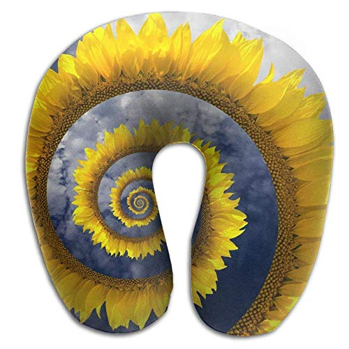 dfegyfr Helix Circle Sunflower Memory Foam U-Shaped Pillow, Unique Travel Rest Pillow for Neck Pain, Breathable Soft Comfortable Adjustable