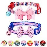 Blueberry Pet Pack of 2 Cat Collars, Girl Power Bahamas Sailor Adjustable Breakaway Cat Collar with Bow Tie & Bell, Neck 23cm-33cm