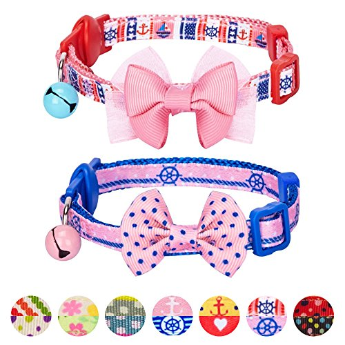 Blueberry Pet Pack of 2 Cat Collars, Girl Power Bahamas Sailor Adjustable Breakaway Cat Collar with Bow Tie & Bell, Neck 23cm-33cm