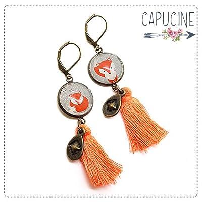 Boucles d'Oreilles Bronze Pendantes Pompon avec Cabochon en Verre Renard Orange et Gris