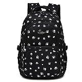 Donykarry Mädchen Schulrucksack Damen Rucksack Jugendliche Große Schultasche Outdoor Freizeit Daypack mit Modernes Muster (Schwarz)
