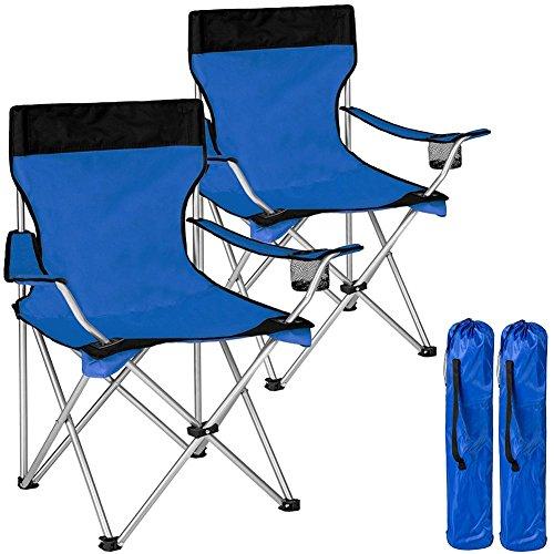 Bakaji coppia sedie pieghevoli da campeggio con borsa camping sedia mare spiaggia pesca da esterno in acciaio e poliestere con vano porta bibite e smartphone (blu)