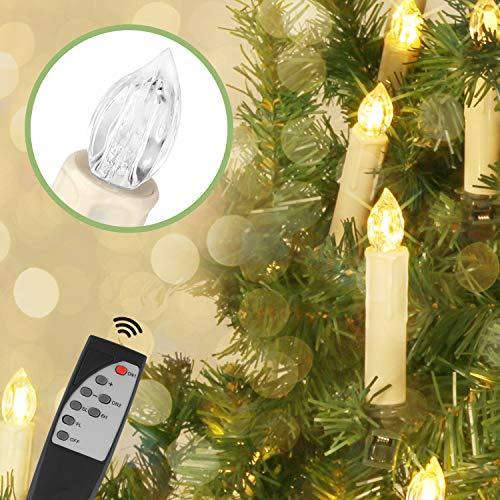Jingrong Velas de LED navidad color blanco cálido con mando,clips removibles y temporizador de 6 horas para Árbol de Navidad,Candelabro,Iglesia,Decoración del hogar y Fiesta(batería no incluída)