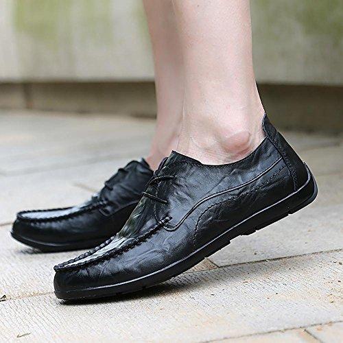 SONGYUNYAN Vintage abbürsten casual englischen Stil Handscraped Spitze Fashion Sneaker Boot Herrenschuh Black