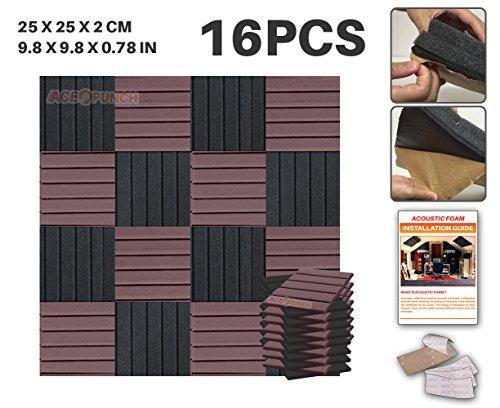 ACE Punch, 16Pezzi 2colori autoadesivo cuneo pannello fonoassorbente Piastrelle da parete design studio isolamento acustico Isolamento acustico, con linguette per il montaggio 25x 25x 2cm ap1054, Black and Burgundy, 25 x 25 x 2 cm