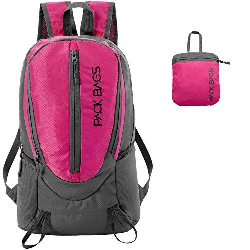 Rucksack Frauen Sport (PACK BAGS Faltbarer Rucksack 20 Liter | Daypack, 2 Farben | für Einkauf, Tagesausflüge, Städte-Trips, Reisen | Ultraleicht (250 g) | Perfekt als Handgepäck für extra Stauraum | Damen, Kinder, Herren)