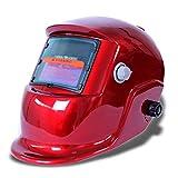 masque de soudure - TOOGOO(R)Masque De Soudure Cagoule Casque Soudage Solaire Automatique(Utiliser Energie Solaire pour Recharge)Accessoire de Protection Rouge
