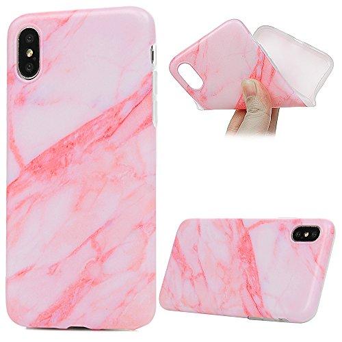 MAXFE.CO Schutzhülle Tasche Case für iPhone X Matte TPU Silikon Cover IMD Design Etui Protective Schale Bumper Marmor Pink + Weiß + Grau Pink + Weiß + Grau