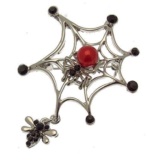 Acosta - Swarovski Kristall Schwarz & Rot Peel Kunstleder - Spinnennetz Brosche Gothic (Silberton) - in Geschenkverpackung