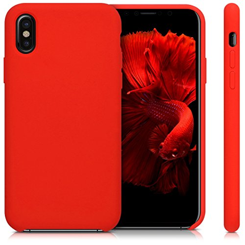 kwmobile Hülle für Apple iPhone X - TPU Silikon Backcover Case Handy Schutzhülle - Cover Schwarz matt .Rot