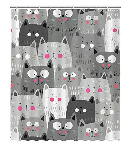 GCKG Cartoon Cute Cats Kitty Bunt Tropische Tiere Wasserdicht Badezimmer Duschvorhang 152,4 x 182,9 cm -