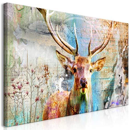 decomonkey   Mega XXXL Bilder Hirsch   Wandbild Leinwand 170x85 cm Einteiliger XXL Kunstdruck zum aufhängen   Tiere Abstrakt
