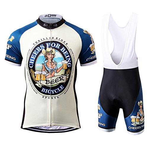 Thriller Rider Sports® Herren Cheers for Being Sport & Freizeit MTB Fahrradbekleidung Radtrikot und Trägerhose Anzüge X-Large (Sport Rider Herren Hose)