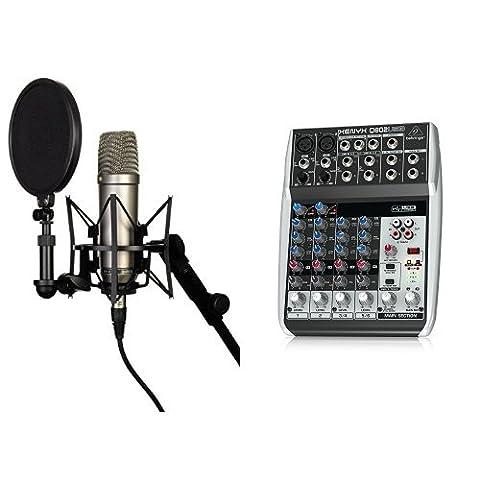 Rode NT-1A Großmembran-Kondensatormikrofon mit goldbedampfter und elastisch gelagerter 2,5 cm (1 Zoll) Nierenkapsel + Behringer Q802USB Xenyx Premium 8-Kanal 2-Bus Mixer mit Mic Preamps/Kompressoren/British EQs und USB/Audio Interface