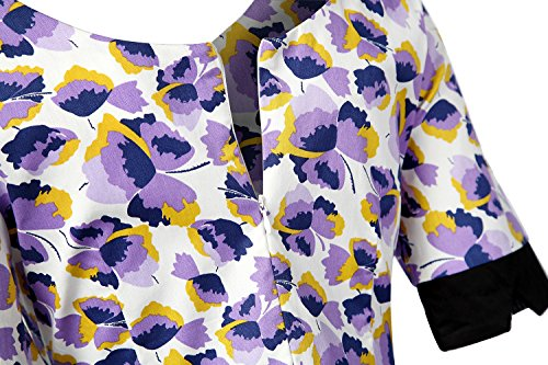 MISSMAO Damen Vintage Kleider Elegant Festtagskleidung Partykleider Retro Kleid A-Linie Baumwolle Schwarz & Weiß & Schmetterling