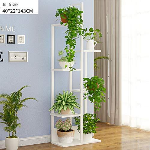 Multi-positionierung Stander (LSLH Eisen + Holz Multi-Layer Flower ständer,Bodenstehende Pflanze-Rack Dekoration Rack Für Indoor Balkontür Wohnzimmer Office-B)