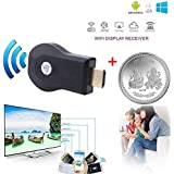 Attino We Cast Wireless WiFi dongle for TV 1080P HDMI Display TV Dongle Receiver Supports Windows iOS, Android-Black + one of Silver Plated Lucky Coin