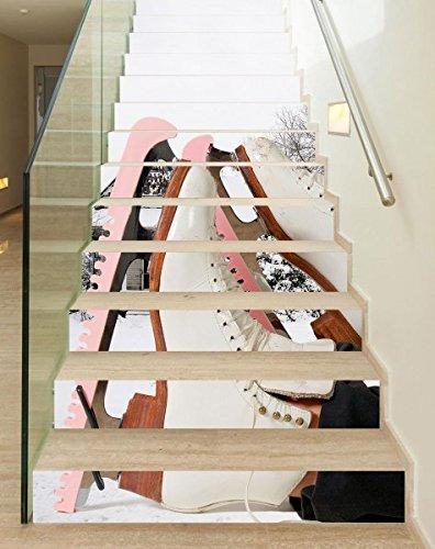 3D Treppenaufkleber Set 18cm x 100cm Eislauf Eiskunst Sport Schuhe Aufkleber Treppe selbstklebend Treppenhaus Bodenaufkleber wasserdicht Flur B1T067, Anzahl Stufen:13 Stufen