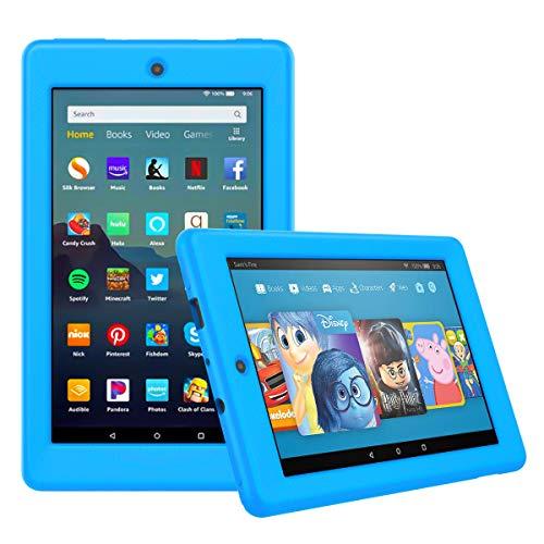 MoKo Schutzhülle für Amazon Fire 7 Tablet (9. Generation 2019), [Honigkamm-Serie], flexibel, weiche Silikon-Rückseite, stoßfest, Blau (Kindle Hdx 4. Generation 7)