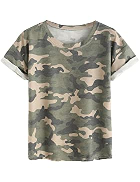 Dooxi Mujer Verano Casuales T Shirts Militar Camo Estampado Manga Corta T Shirt