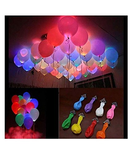A2Z SHOPMART 9 inches (Pack of 5) LED Light Balloons for Birthday Party Mixed Colors/LED Balloons for Home Decoration/Wedding, Anniversary, Christmas, New Year Decoration