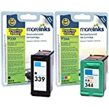 2 Moreinks Compatible Black / Tri-Colour Printer Ink Cartridges to replace HP 339 / HP 344 - High Capacity