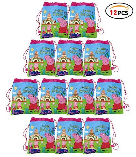 Qemsele Bolsa Mochilas Bolsas de cumpleañoscordón Dibujos Animados Mochila Bolsas para cumpleaños niños y Adultos la Fiesta favorece la Bolsa, Rellenos Bolsas Fiesta 12Pcs (Peppa Pig, W10 * H12)